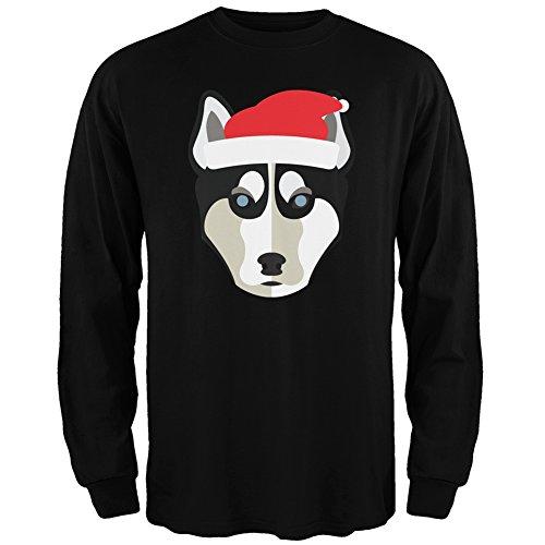 Husky Santa Ugly Christmas Sweater Black Long Sleeve - Medium - Huskies Santa