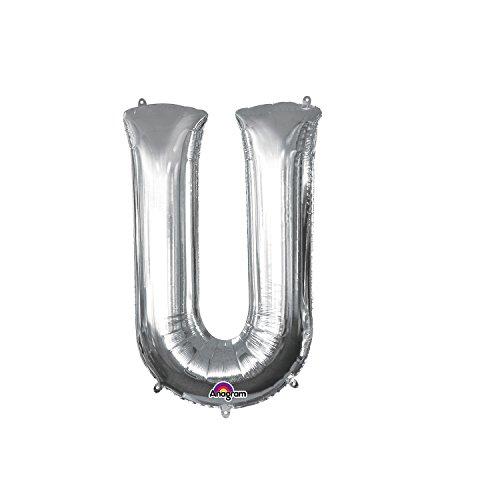 Regina 106453.3, Balão Metalizado Super Shape Letra U Pack, Prata