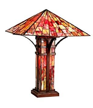 Captivating Tiffany Style Mission Double Lite Table Lamp
