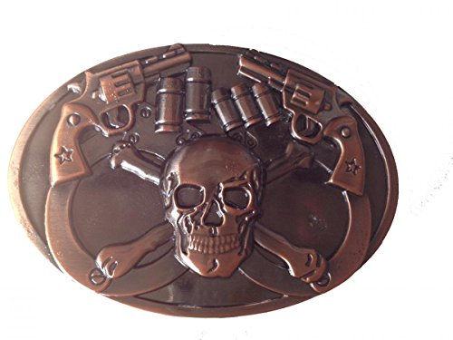 [Gun n' Skull Belt Buckle Skeleton Heavy Metal Punk Rock Biker] (Skull Buckle Metal)