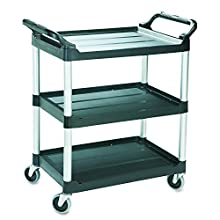 Rubbermaid Commercial Products Heavy Duty 3-Shelf Rolling Service/Utility/Push Cart, 200 lbs. Capacity, Black, for Foodservice/Restaurant/Cleaning (FG342488BLA)