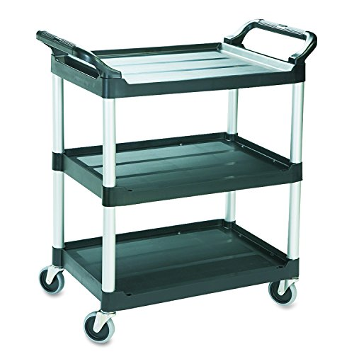 Rubbermaid Commercial Products Heavy Duty 3-Shelf Rolling Service/Utility/Push Cart, 200 lbs. Capacity, Black, for Foodservice/Restaurant/Cleaning - Shelf 2 Service Cart Rubbermaid