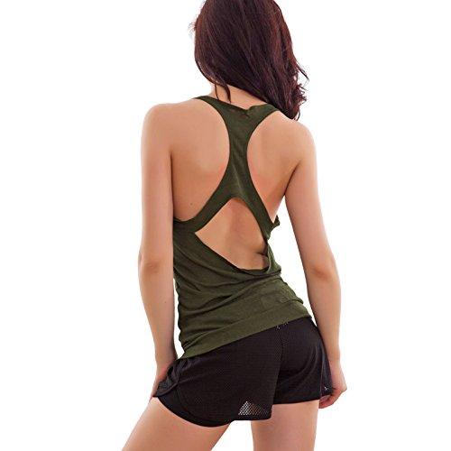 maglietta schiena Verde F9504 sexy Top Toocool canottiera nuova nuda fitness canotta donna wZgcAc1RSq