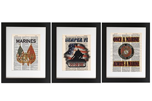 (Set of 3 Marine Prints, Tribute to the US Marine Corps. USMC - Upcycled Dictionary Military Art Print 8x10. USMC Tribute - UNFRAMED - Frame and matting are for presentation purposes only.)