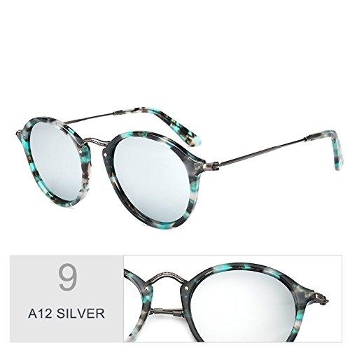 De A12 De Unisex Redondas Gafas Uv400 Gafas Madera Polarizadas Sol Azul TIANLIANG04 SILVER C19 Similares qSUOwxt