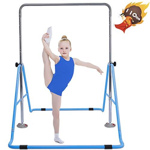 Safly Fun Gymnastics Bar for Kids Height Adjustable Horizontal Kip Bar Folding Gymnastics Junior Training Bar for Home Using(Blue)