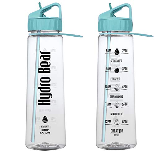 Walks Hydro (Hydro Bear Motivational Fitness Sports Water Bottle with Time Marker | Measurements | Drink More Water Daily | BPA Free Tritan with Flip Straw | for Outdoors; Adults | Large 30 Ounce)