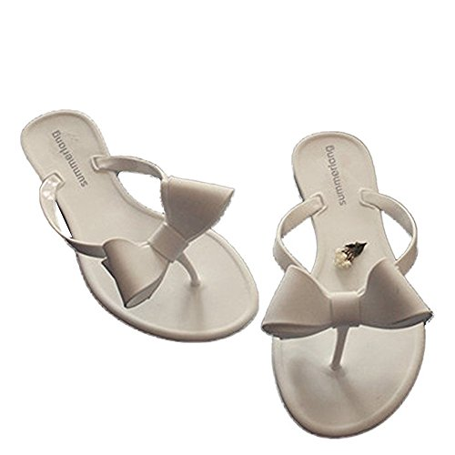 Womens Bowtie Flip Flops Jelly Thong Sandal White Flat Summer Beach Rain Shoes]()