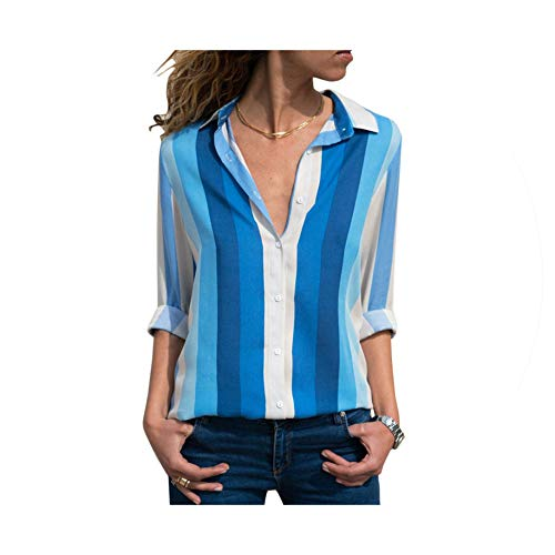 Shop1994 Summer Shirt Striped Printed Ladies Blouse 2019 Long Sleeve Turn Down Collar Office Womens Shirts Casual