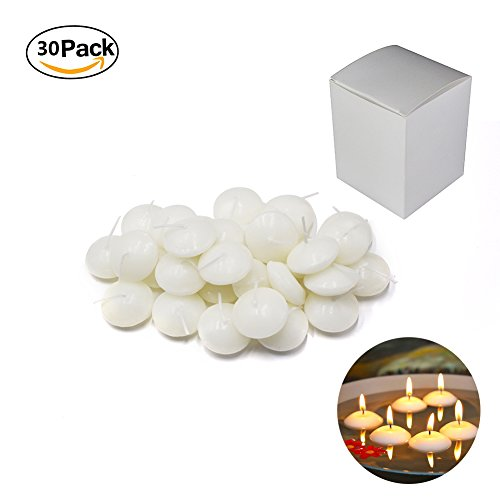 Etyhf 30 Pack Unscented 1.5 Inch Small Water Floating Disc Candles for Centerpieces,Wedding,Party and Home Decoration, White, 30 Pieces