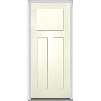 Charmant National Door Company ZA15504L Fiberglass Smooth Alabaster, Left Hand  In Swing, Prehung Front