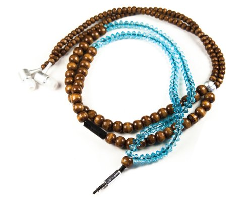 The YOGI DuneTunes Stereo Headphone Necklace, Natural Wood Brown/Clear Facet Blue - Handcandy HF001BT
