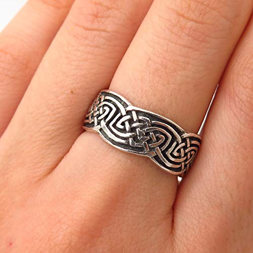 925 Sterling Silver Peter Stone Viking/Celtic Knot Band Ring Size 7 1/4 Jewelry by Wholesale Charms ()