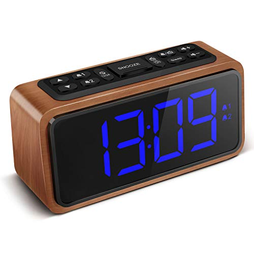 FM Radio Alarm Clock, Koosin Large LED Display Wood Digital Alarm Clock, Adjustable Brightness Dimmer and Snooze, Simple LED Clock with Dual Alarm, 12/24 Hour, Powered by AC Adapter (Blue)