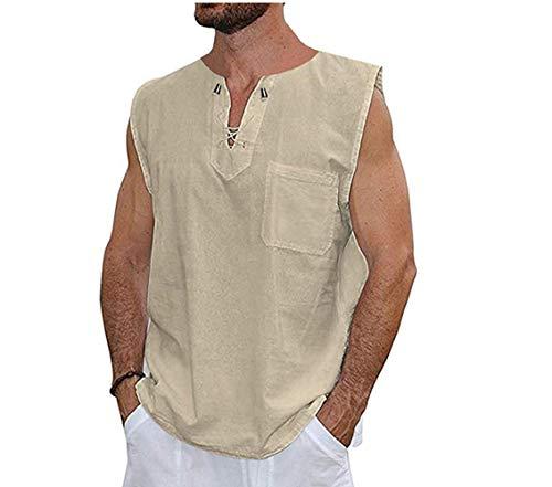 (Mens T Shirt Cotton Tee Hippie Shirts - Fashion V-Neck Drawstring Beach Yoga Top Khaki)