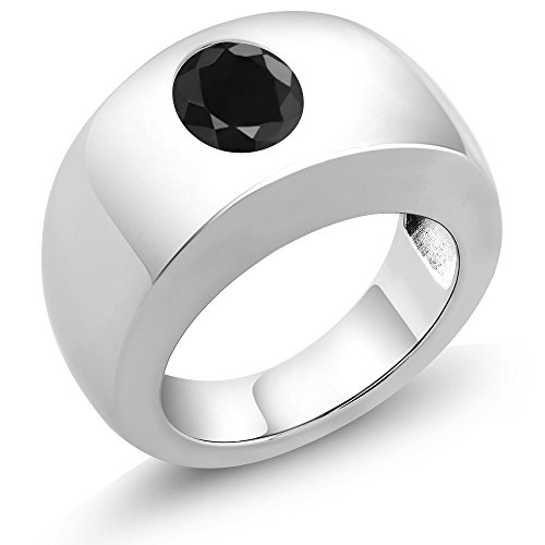 2.54 Ct Oval Black SI1/SI2 Sapphire 925 Sterling Silver Men's Solitaire Ring by Gem Stone King