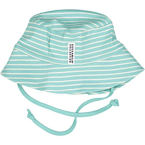 GEGGAMOJA Organic Cotton Sunny Hat, Mint Green/Beige Stripe, Size 2 (4-10 mo)