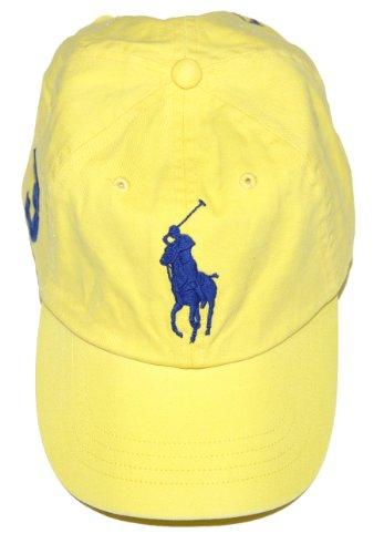 Polo Ralph Lauren Men Adjustable Pony Logo Hat (One Size, Yellow)
