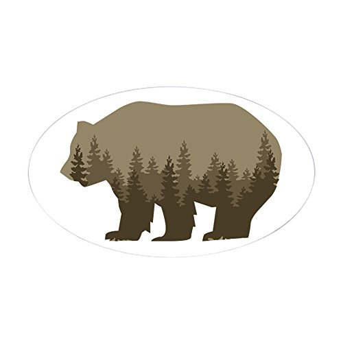 (CafePress Grizzly Trees Sticker Oval Bumper Sticker, Euro Oval Car Decal)
