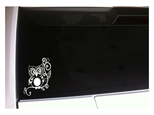 "Owl with Hearts 6"" Vinyl Sticker Decal I88 Owls Car Wall Lap"