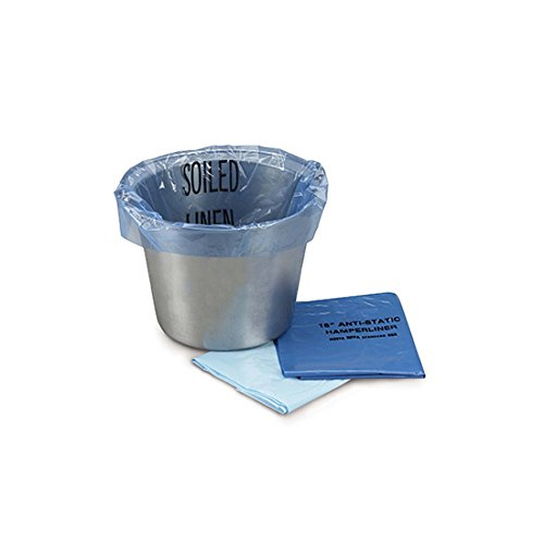 Medegen 3104AS Anti-Static Kick Bucket Liner, Meet NFPA 56A, Flat Pack, Soiled Linen, 1.25 mil Gauge, 4-7 gal Capacity, 24'' Height, 8'' Width, 12'' Length, Blue/Black (Pack of 500)