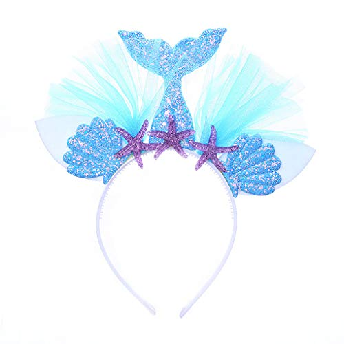 Glitter Mermaid Headband Starfish Tulle Hairbands for Girls Kids Costume Birthday Party Hair Accessories -