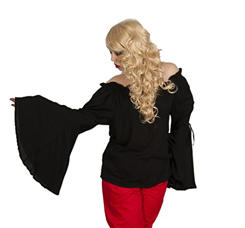 [Dress Like A Pirate Wench Renaissance Bell Sleeve Blouse (O/S, Black)] (Steampunk Gypsy Costume)