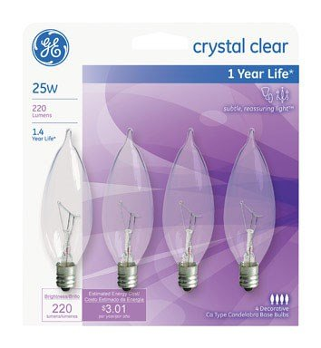 GE Lighting 76234 25 Watt Crystal Clear Bent Tip Light 4 Count - Crystal 25 Light