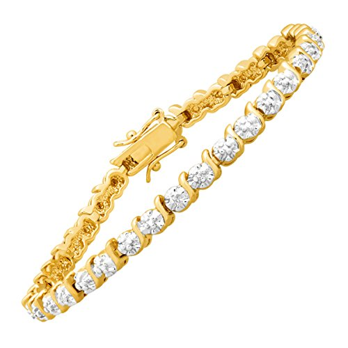 Tennis Bracelet with Diamonds in 14K Gold-Plated Brass, - Sparkling Bracelet Diamonds