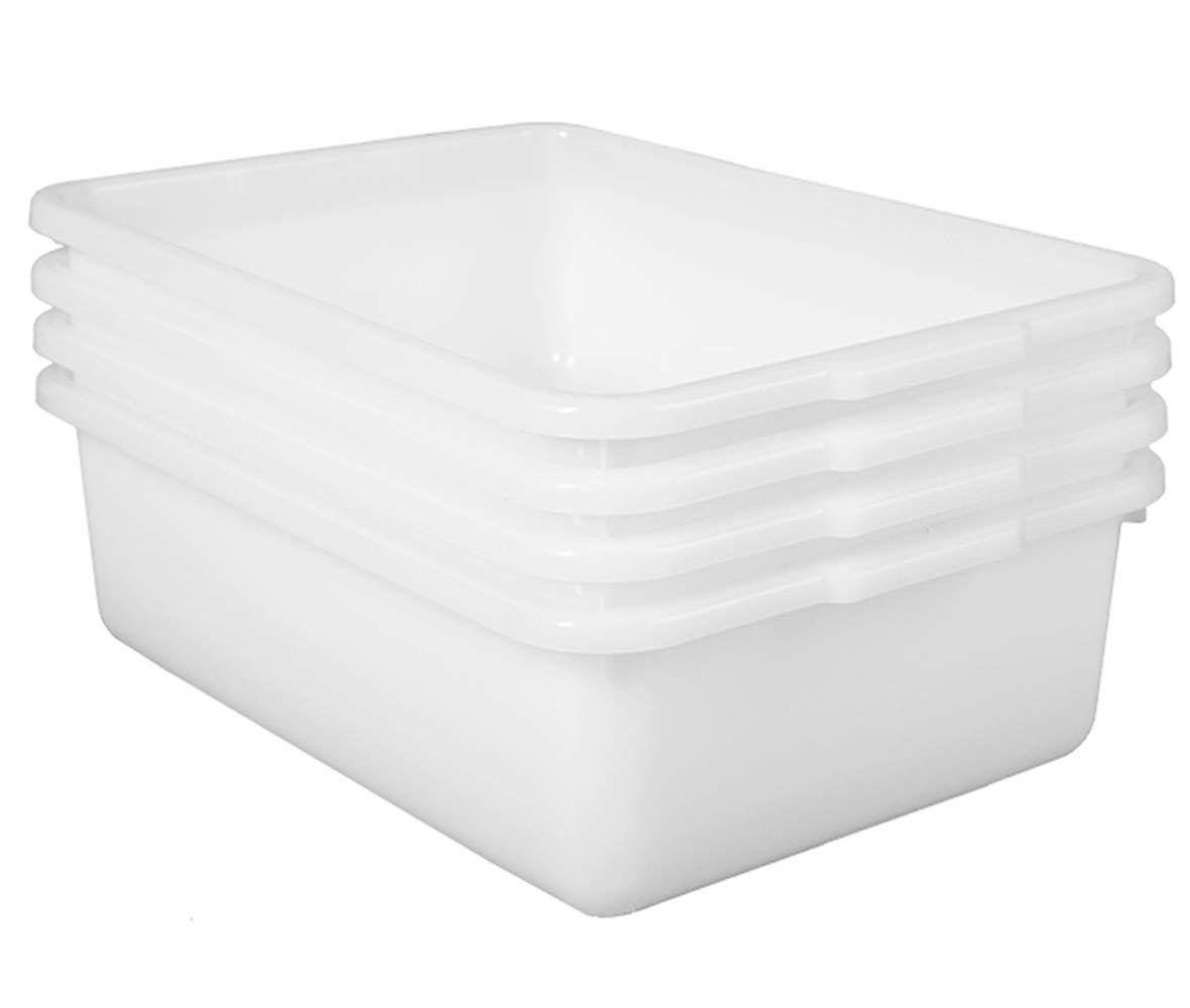 JUJIAJIA Commercial Bus Tubs, 4-Pack Plastic Bus Box/Wash Basin, White Dishpans (8L/8.5qt)