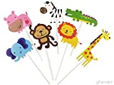 #9: kapoklife 11 28-Pack Cute Zoo Cupcake Picks,Jungle Animals Toppers for Kids Baby Shower Birthday Party Cake Decoration Supplies