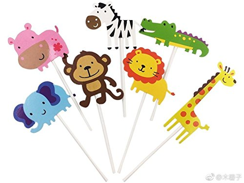 kapoklife 11 28-Pack Cute Zoo Cupcake Picks,Jungle Animals Toppers for Kids Baby Shower Birthday Party Cake Decoration (Homemade Baby Shower Favors)