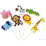 kapoklife 11 28-Pack Cute Zoo Cupcake Picks,Jungle Animals Toppers for Kids Baby Shower Birthday Party Cake Decoration Supplies