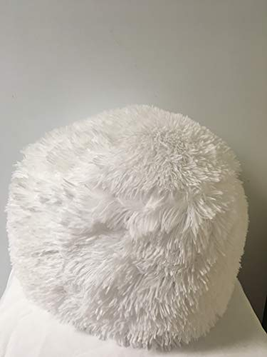 Jody Clarke 1 PC Plush Faux Fur Decorative Throw Pillow Cushion Shaggy Cover Velvety Fluffy Soft Cushion 30 cm Round Avilabale in Multiple Colors (White) ()