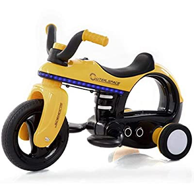 MD Group 6 V Battery Powered Kids Riding Motorcycle Trike with 3 Wheels, Yellow