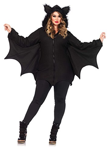 Leg Avenue Women's Plus-Size Cozy Bat Costume, Black, 1X/2X - Halloween Costumes Womens Plus Size