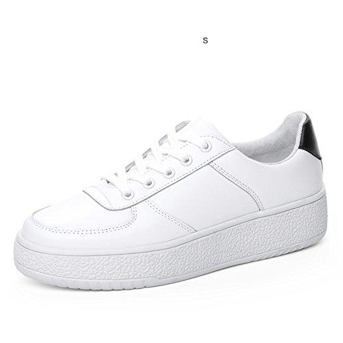 Scarpe Svago Cuoio Scarpe Coreano Bianco Di Spessa Suola Scarpe Scarpe Primavera Piatto Di Sneakers Consiglio A Jurchen Di Con qzP4z
