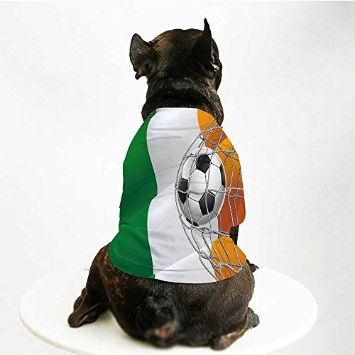 YOLIYANA Irish Fashion Pet Suit,Sports Theme Soccer Ball in a Net Game Goal with Ireland National Flag Victory Win for Cats and Dogs,S