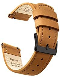 Ritche 18mm Quick Release Leather Watch Band Brown Top Grain Leather Watch Strap with Black Buckle for Men