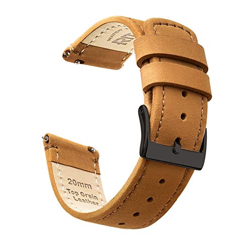 Ritche 22mm Quick Release Leather Watch Band Brown Top Grain Leather Watch Strap with Black Buckle for Men