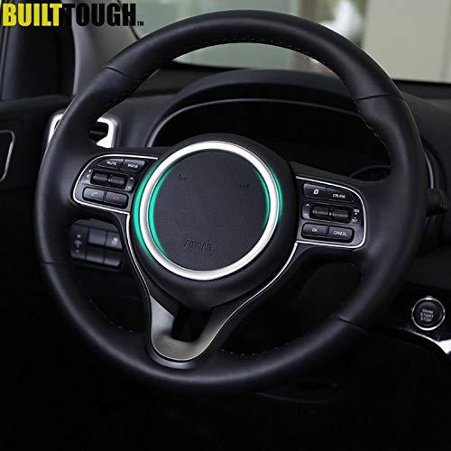 (Sweet.love for car: for Kia Sportage 2017 2018 Chrome Steering Wheel Panel Cover Badge Insert Trim Ring Bezel Garnish Molding Decoration Car Styling)