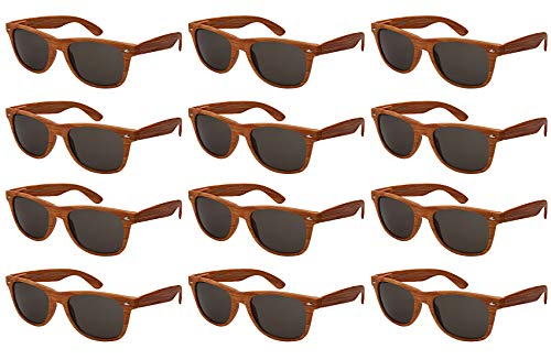 - Edge I-Wear 12-Pack Vintage Men Women Plastic Horned Rim Sunglasses Sping Hinges Wood Pattern N5401ASWD-SD-4(L.BRN)