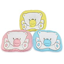 Dianoo Newborn Baby Pillow, Anti-roll Bear Pillow, Flat Head Sleeping Positioner, 3PCS (three color: yellow, pink and blue)