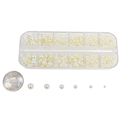 (1100pcs Pearls Rhinestone Half Round Flat Backs Collection with Box for Scrapbooking (Beige))