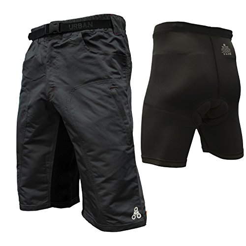 The Enduro - Men's MTB Off Road Cycling Shorts with ClickFast Padded Undershorts with Coolmax Technology (X-Large, Black)