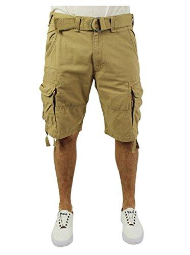 85ea704a25 Jordan Craig Men's Twill Washed Cargo Shorts Belted Beige Size 34