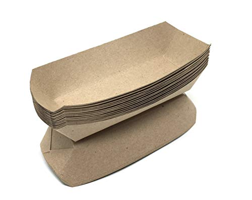 Hot Dog Holders (Mr. Miracle 7 Inch Paper Hot Dog Tray in Kraft Paper. Pack of 100. Disposable, Recyclable and Fully Biodegradable. Made in)