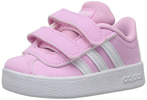 adidas Kids' VL Court 2.0 Sneaker, Frost Pink, Ftwr White, Grey Two Fabric, 6K M US -
