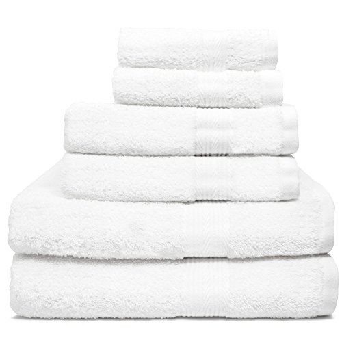 Zeppoli 6-Piece Towel Set - 100% Cotton White Towels - 2 Bat