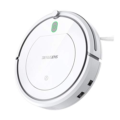BEAUDENS Robot Vacuum Cleaner with Slim Design, Tangle-Free for Pet Hair and Long Hair, Automatic Planing for Home Tile Hardwood Floors and Low Pile Carpet, White